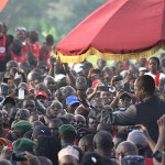 Thousands of people welcomed the Kabaka of Buganda Ronald Muwenda Mutebi on his arrival to Lubiri during the Kabaka's birthday run 2015 on 12th April; 2015.