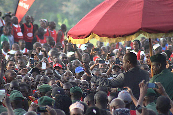 Thousands of people welcomed the Kabaka of Buganda Ronald Muwenda Mutebi on his arrival to Lubiri during the Kabaka's birthday run 2015 on 12th April; 2015.
