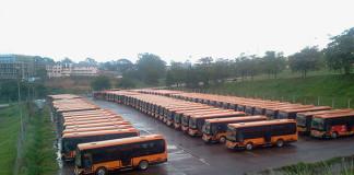 Pioneer buses parked near Namboole Stadium in Bweyogerere