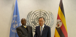 President Museveni Shaking hands with UN Secretary General Ban Ki-Moon during the side-lines of the High Level Thematic Debate at United Nations General Headquarters in New York on Monday May 4, 2015. PPU Photo