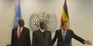 President Yoweri Museveni amidst UN Secretary General Ban Ki-Moon (right) and President of the United Nations General Assembly Sam Kutesa in Secretary Generals Chambers at UN during the side-lines of the High Level Thematic Debate at United Nations General Headquarters in New York on Monday May 4, 2015. PPU Photo