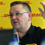 DHL Expres Sub-Saharan Africa MD Charles Brewer at a press conference