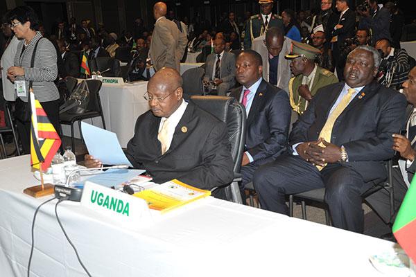 President Museveni and the Uganda delegation.