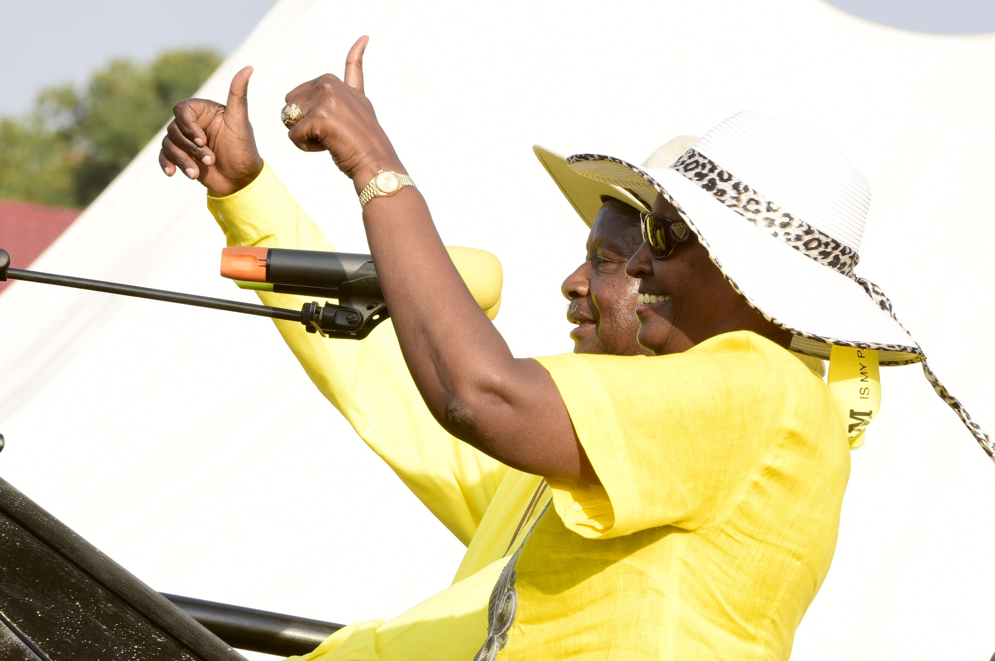 The President Yoweri Kaguta Museveni together with the first lady Janet Museveni campaign at a rally at Kyamate Secondary School playground on 8th January 2016.