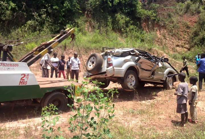 Wreckage of the car that Pastor Kawesa perished in. PHOTO/Courtesy