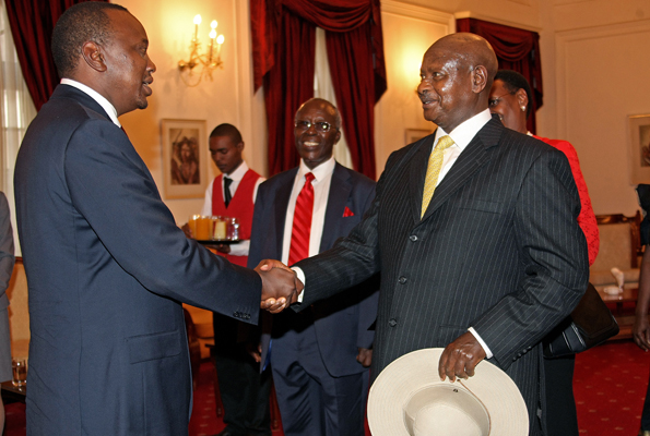 PRESIDENTS Museveni and Uhuru at an earlier state function.