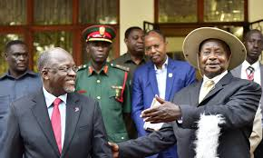 PRESIDENTS; Museveni and Magufuli at State House in Dar la Salaam where the two leaders said they had agreed to develop a pipeline.
