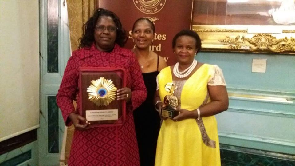 Representing NWSC, the Vice chairperson of the Board Mrs Ruth Kanyaruju and Director Finance and accounts Mrs Sylvia Alinaitwe received the European Quality Award on behalf of the managing director and the corporation