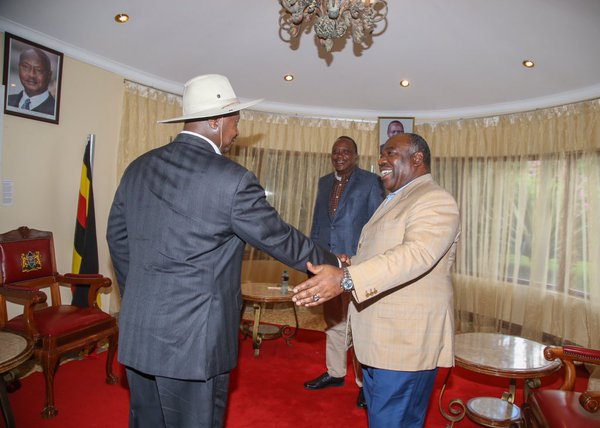 President Museveni  and Ali Bongo of Gabon on arrival for the Inaugural Giants Club Summit in Kenya