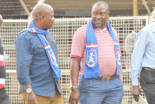 SC Villa vice president Meddie Nsereko (L) and supremo Ben Misagga have not lived up to their previous hype