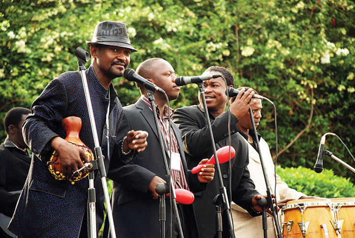 Don Kanta (L) performing with the Afrigo band in 2011. Next to him is Abbey Katongole, Rud Boy Devoe and Herman Sewanyana