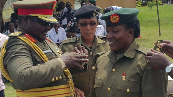 Hon Col Flavia Byekwaso was only woman to be decorated on Wednesday. (Photo/ Twitter: @Snduhukire)