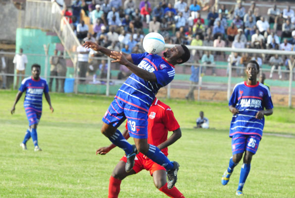 Former SC Villa Nigerian striker Victor Emenayo controlling the ball with his chest in the 1-1 draw with SCVU that hurt the club's title bid in May 2015
