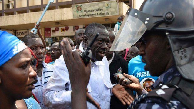 DEFIANT? Supporters of Dr Kizza Besigye