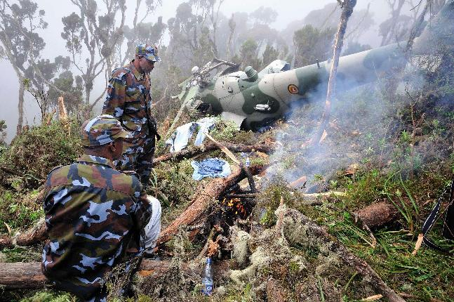 a wreckage of one of the Uganda Airforce helicopters that crashed in Kenya while in transit to Somalia