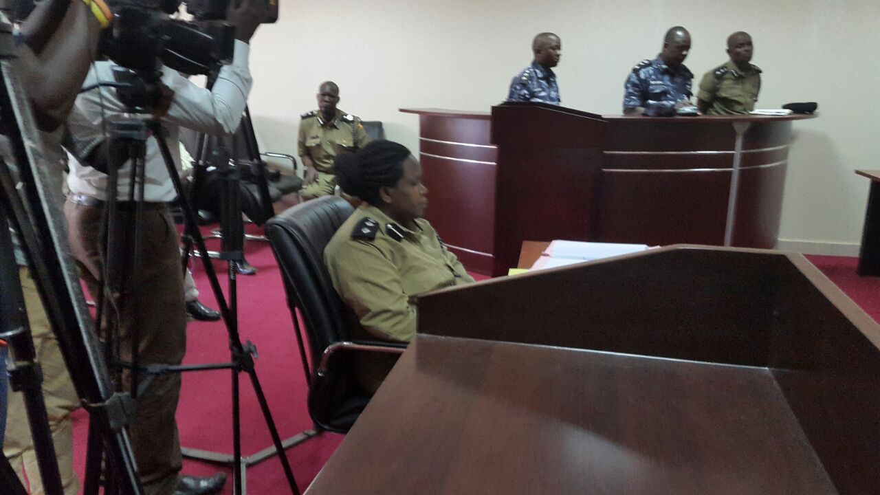CHARGED FOR THE BEATING BESIGYE SUPPORTERS: Top KMP officers appearing before the police court.