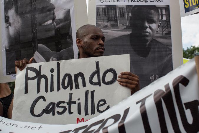 Protesters in the US against the killing of Philando Castillo