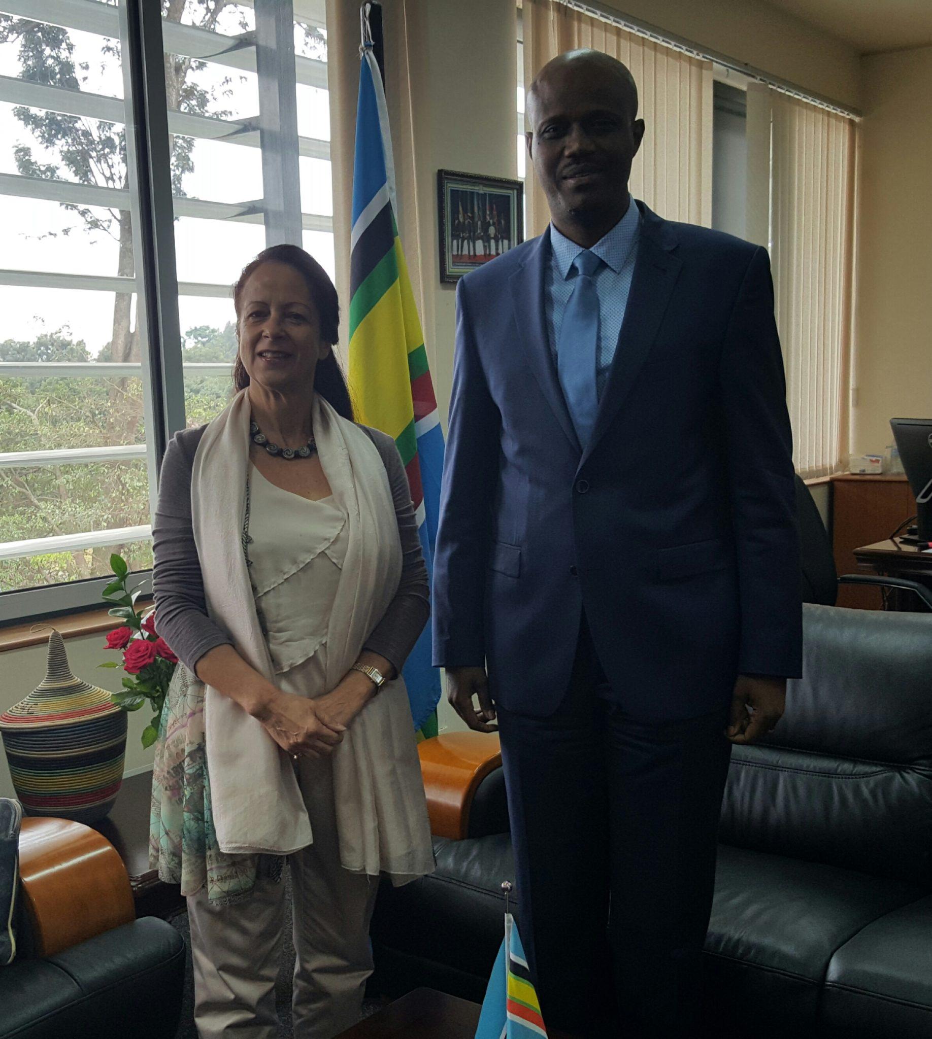 EAC Secretary General Amb Liberat Mfumukeko with French Ambassador, Ms Malika Berak, at the EAC Headquarters.