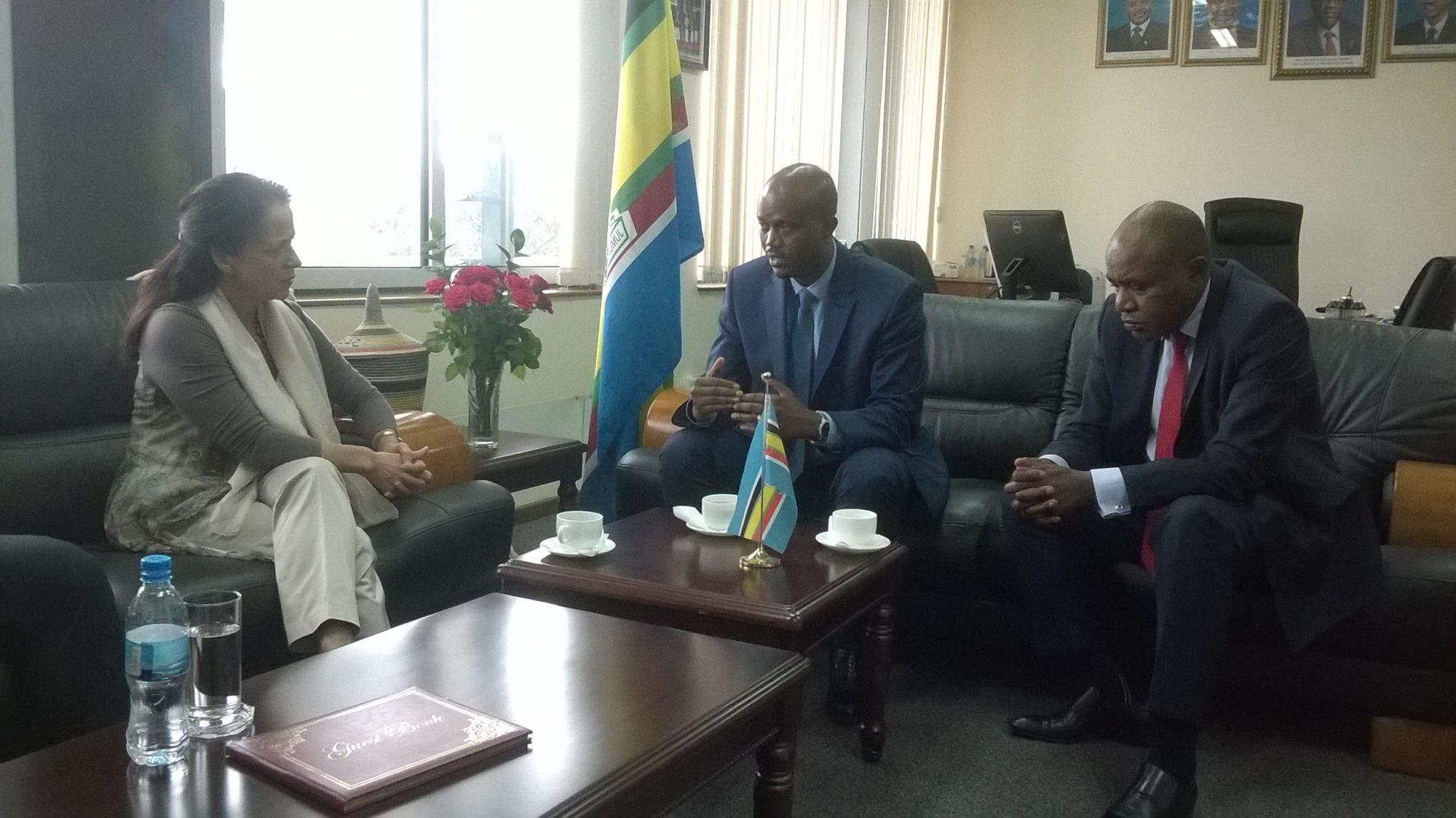 EAC Secretary General Amb. Liberat Mfumukeko (centre) confers with French Ambassador, Ms. Malika Berak, at the EAC Headquarters. On the right is EAC EAC Deputy Secretary General in charge of Political Federation, Mr. Charles Njoroge.