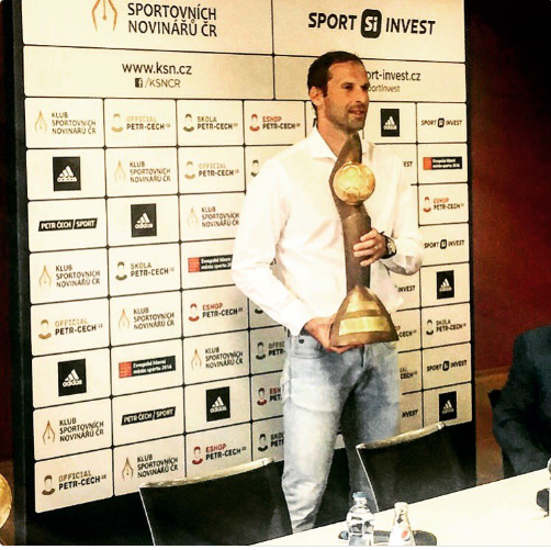 Petr Cech hold a trophy won in one of his many exploits for the Czech Republic