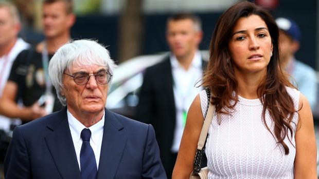 RELIEVED: F1 boss Bernie Ecclestone with his wife Fabiana Flosi