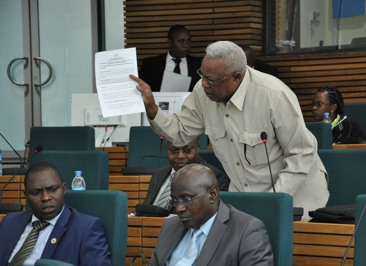 Hon Leonce Ndarubagiye emphasizes a point on the floor of the House