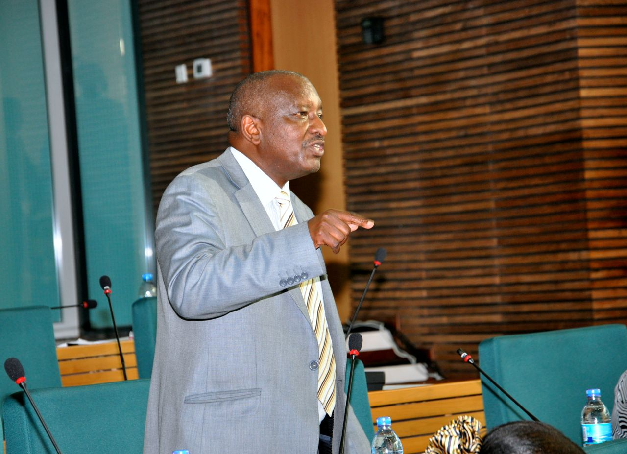 Hon Frederic Ngenzebuhoro stresses a point during debate on the report on Sensitisation.