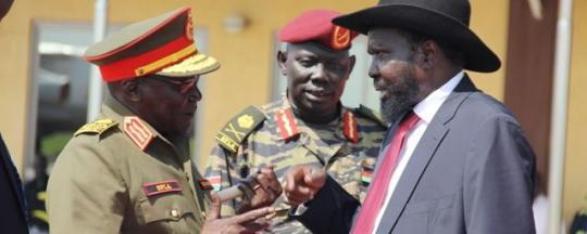 President Salva Kiir with the Chief of General Staff Gen Paul Awan Malong. Photo credit/nyamile.co.