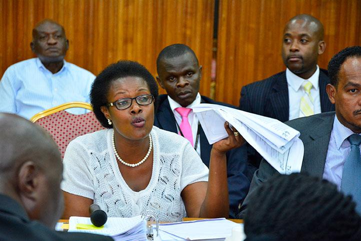Margaret Muhanga presenting her 'evidence'