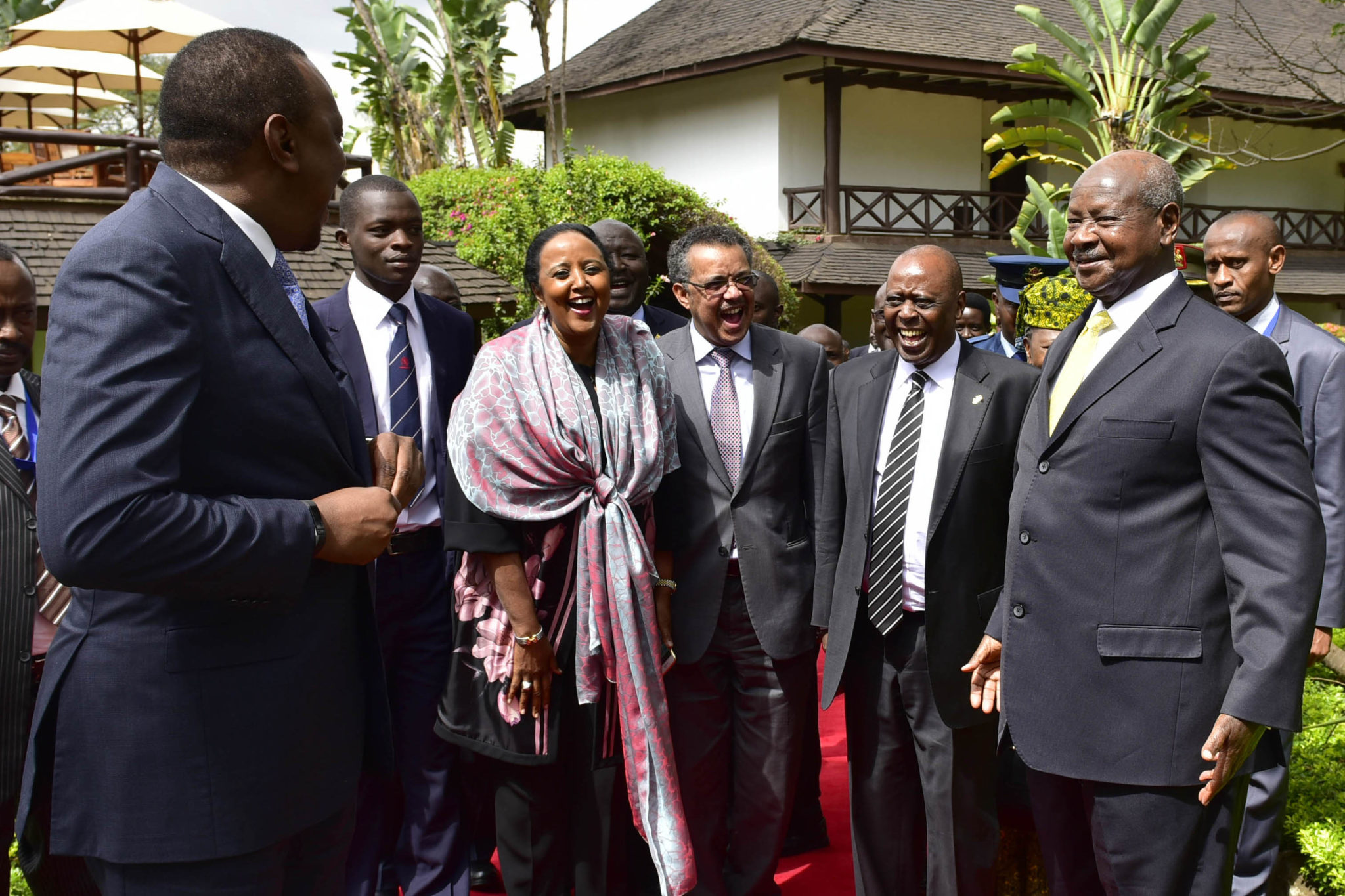 The President Yoweri Kaguta Museveni (RIGHT) interacting with the Kenyan President Uhuru Kenyatta (LEFT) and his delegation shortly after  their meeting at Safari Park Hotel in Nairobi on 29th August 2016.This was after the closing ceremony of the Tokyo International Conference on African Developement in Nairobi Kenya.