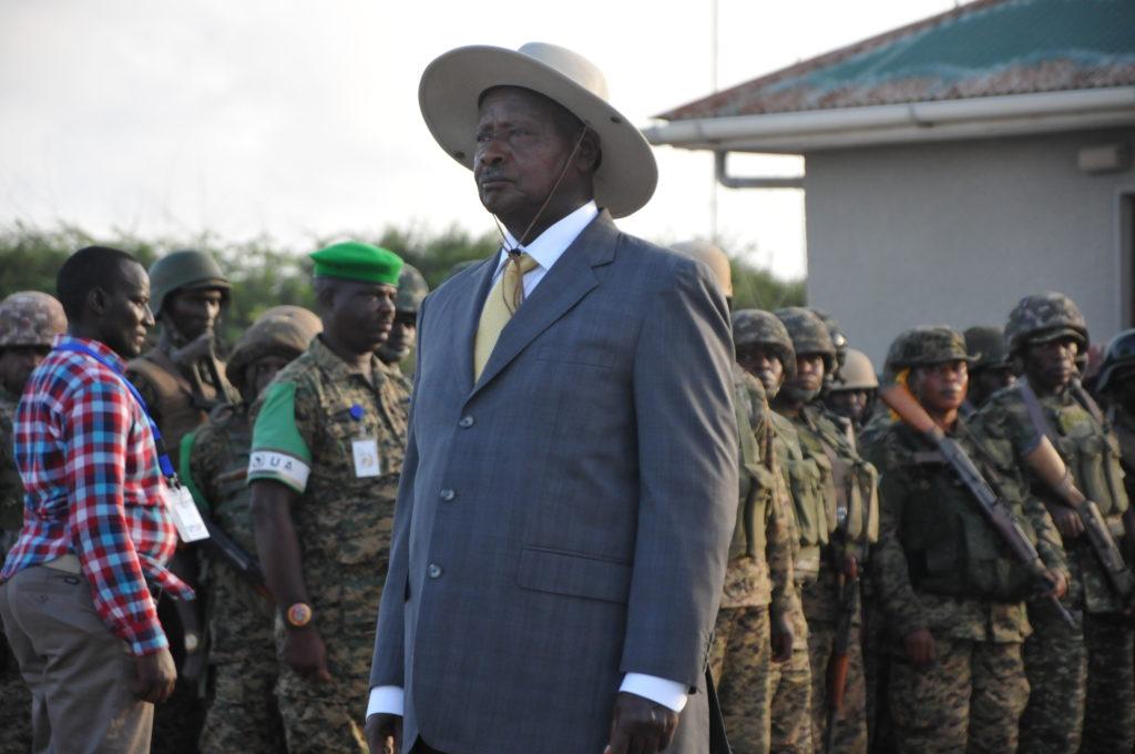 President Yoweri Museveni in Mogadishu, Somalia.