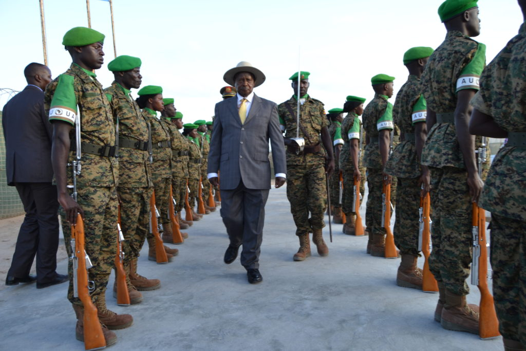 President Yoweri Museveni inspects a guard of honour mounted by UPDF soldiers in Mogadishu, Somalia.