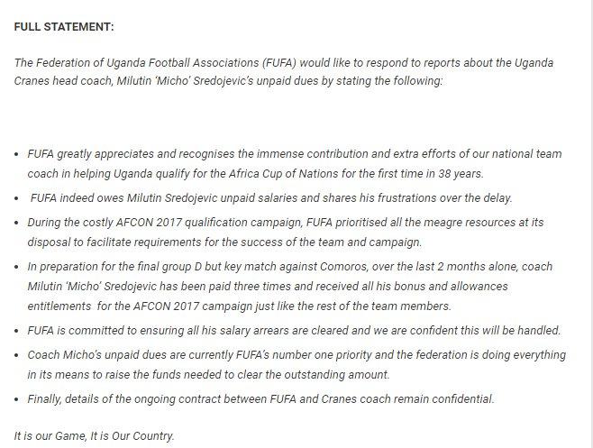 "MAGOGO 'WARNING"": The 'clarification' letter over coach Micho's arrears written by Fufa boss Moses Magogo."