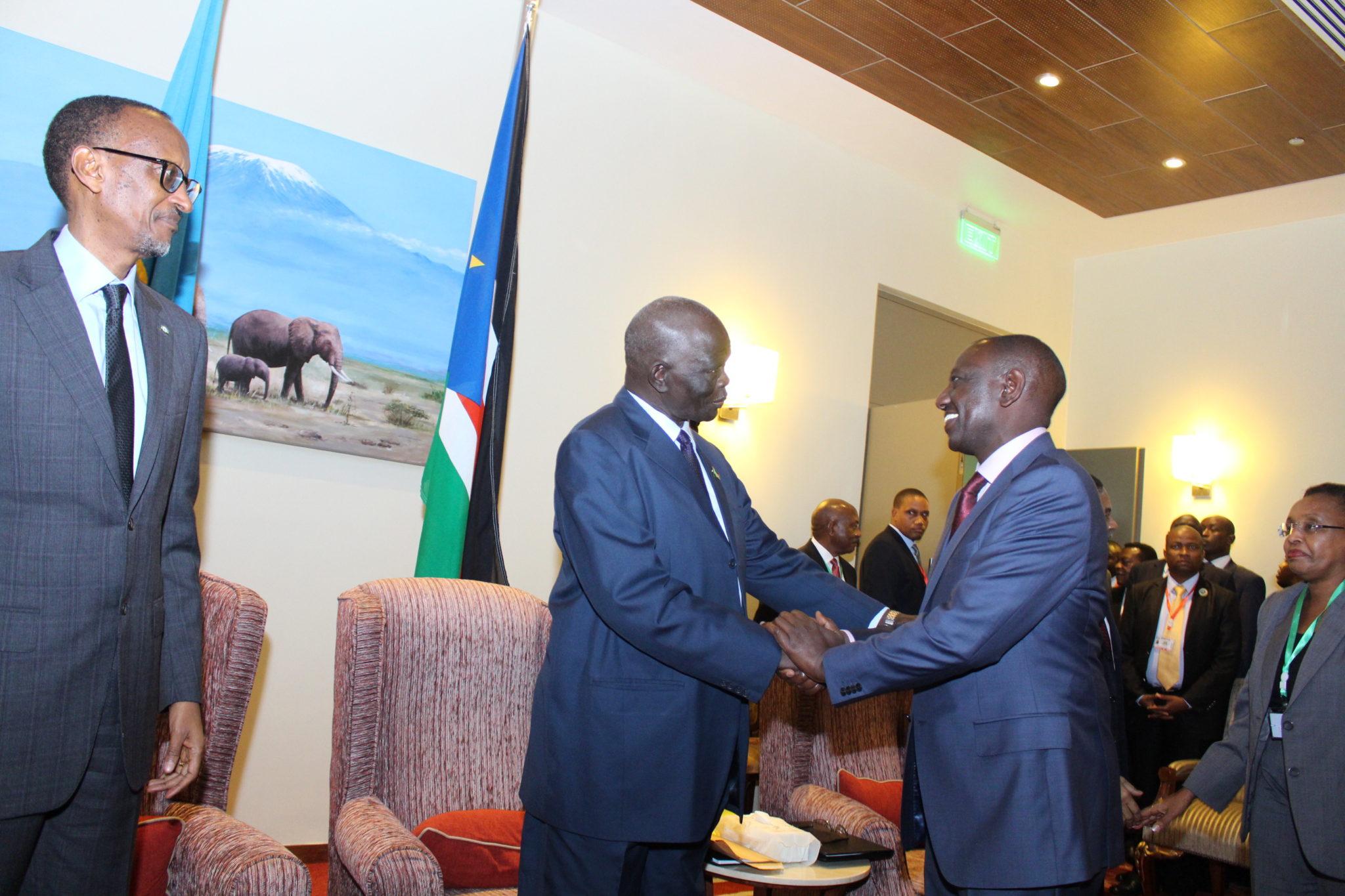 H.E Paul Kagame of the Republic of Rwanda, H. E. Hon. Aggrey Tisa Sabuni, Presidential Envoy of the Republic of South Sudan and H.E William Ruto, Deputy President The Republic of Kenya.