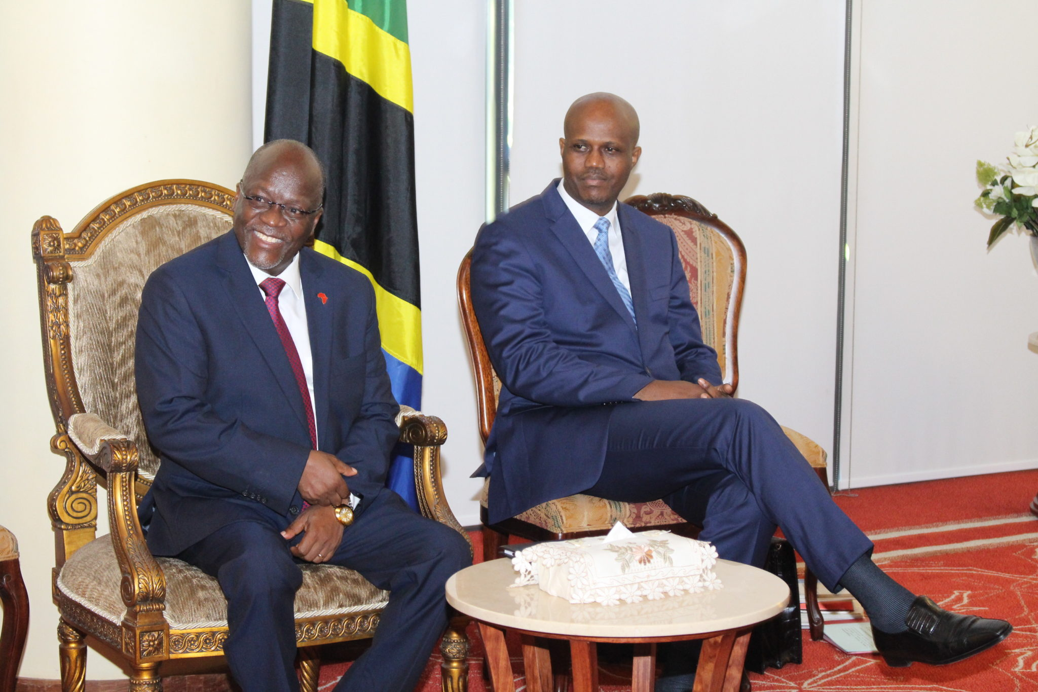 H.E Dr John Pombe Magufuli, President of the United Republic of Tanzania and Chair of the EAC Summit alongside the EAC Secretary General Amb Liberat Mfumukeko