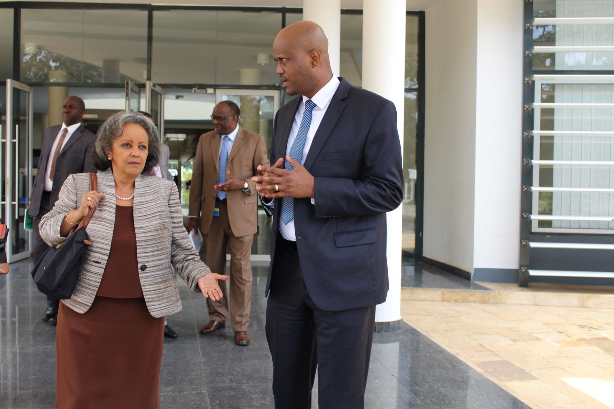 EAC Secretary General Amb. Liberat Mfumukeko with H.E. Sahle-Work Zewde, the Director General of the UN Office in Nairobi outside the EAC Headquarters in Arusha, Tanzania today.