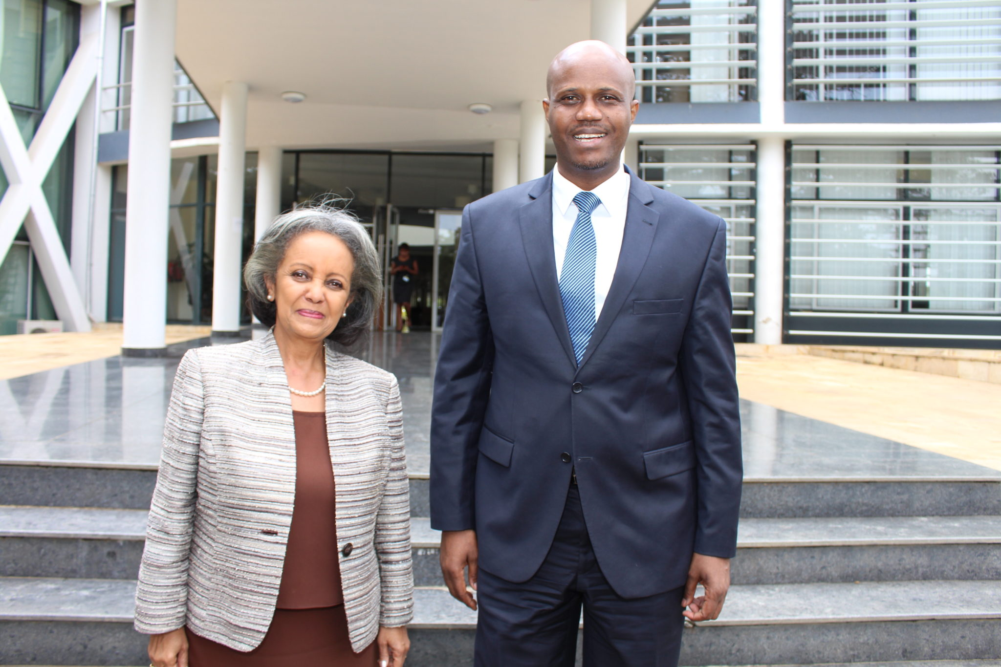 EAC Secretary General Amb. Liberat Mfumukeko with H.E. Sahle-Work Zewde, the Director General of the UN Office in Nairobi outside the EAC Headquarters in Arusha, Tanzania.