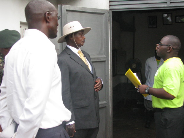 President Yoweri Museveni on a visit to the original Dairy Corporation in 2010.