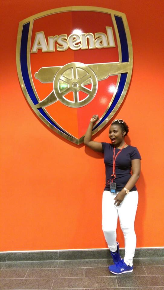 IN THE UK: Mary Luswata  at the Arsenal Emirates Stadium in the UK
