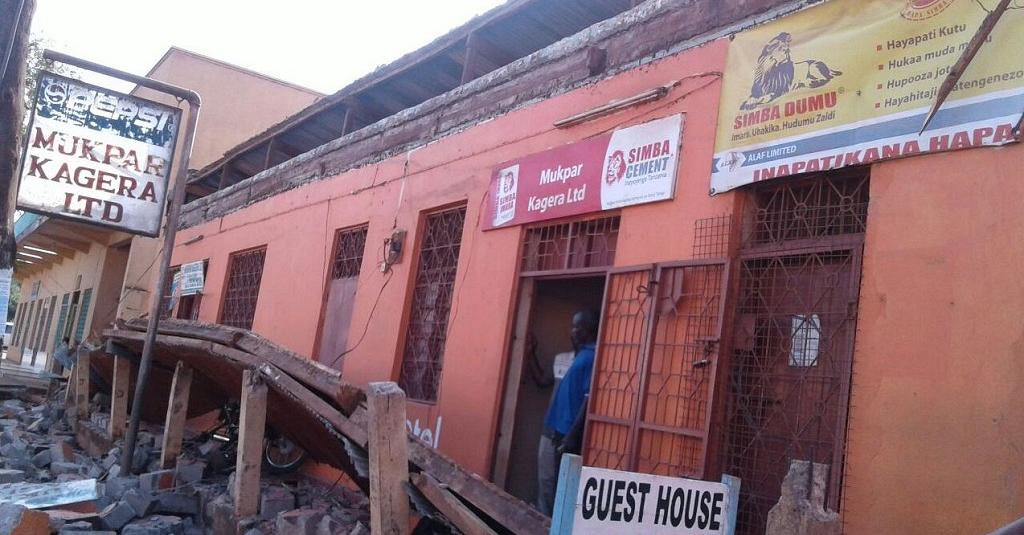 One of the buildings damaged by the earthquake in Tanzania last week.