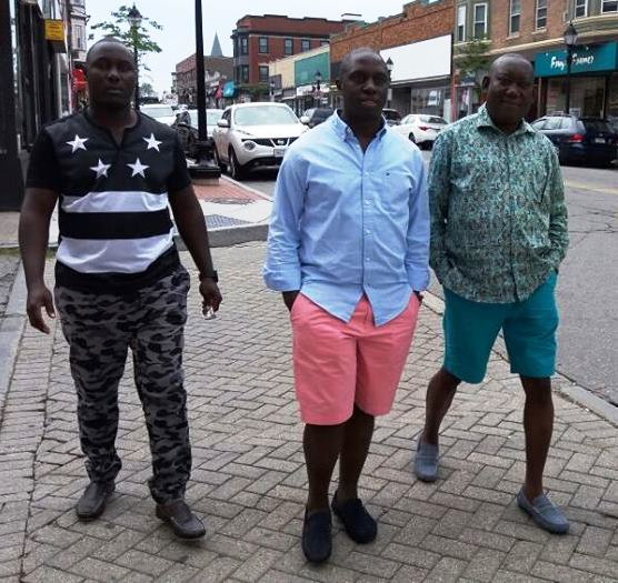 BIG BOYS: Lubaga MP Kato Lubwama (extreme right) with Kampala Central MP Muhammad Nsereko and a friend 'enjoy' life in the US where they are for the UNAA conference.