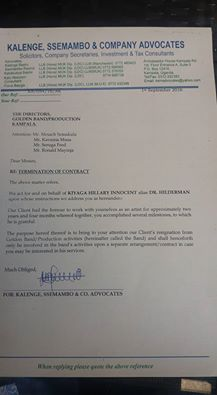 QUIT NOTICE: The letter written by Dr Hilderman's lawyers to Golden Productions Band.