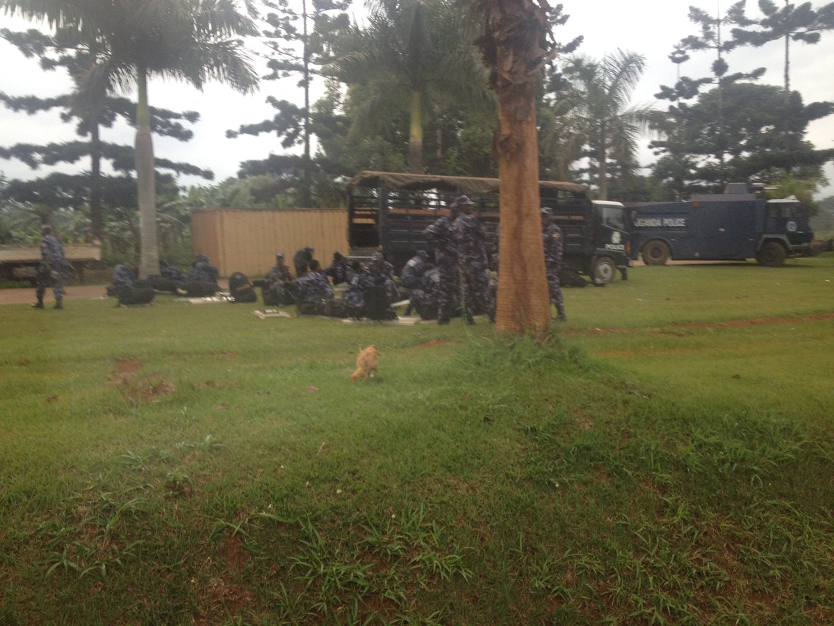 CAMPED: Riot Police deployed ahead of Dr Besigy's return early today camp at the Kisubi Polioce Station along Entebbe Road. Photo credit/nbstv