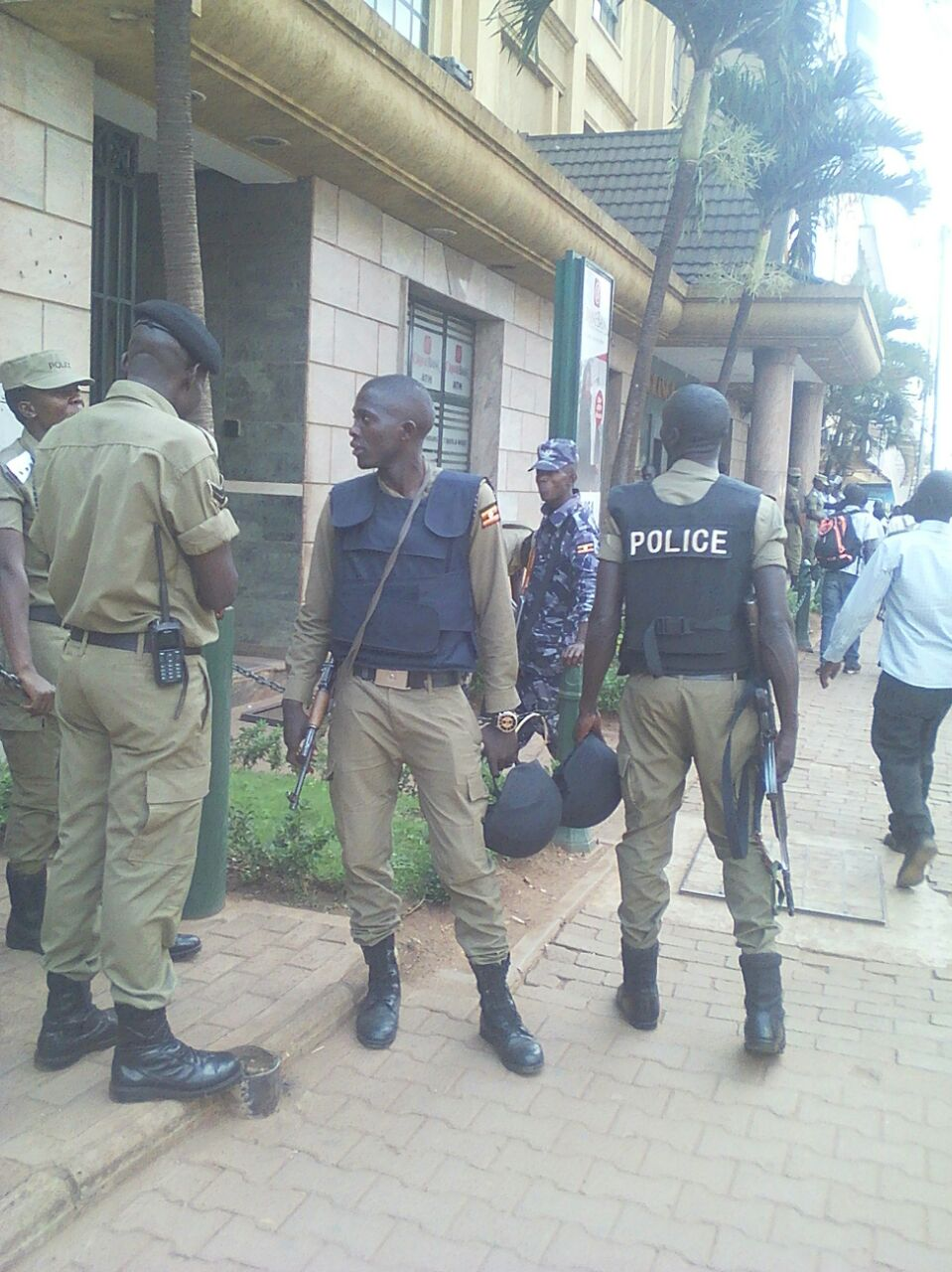 DEPLOYED: Policemen stand guard outside Crane Bank.