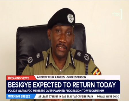 NOT INFORMED OF CHANES IN DATE: Police Spokesperson Andrew Felix Kaweesi says the force was not informed of changes in the dates of Dr Besigye's return. Photo credit/nbstv