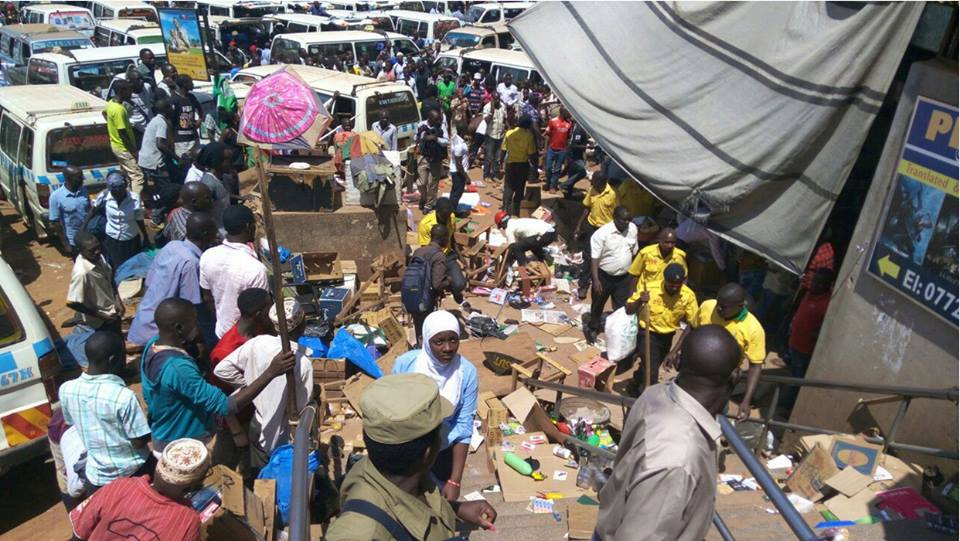CONFRONTATION: Police and KCCA law enforcement officers engage in running battles with city vendors