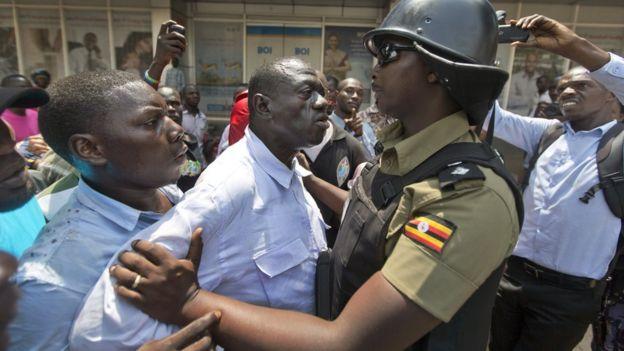 INDEPENDENT? Opposition FDC flag bearer Dr Warren Kizza Besigye being arrested by police.
