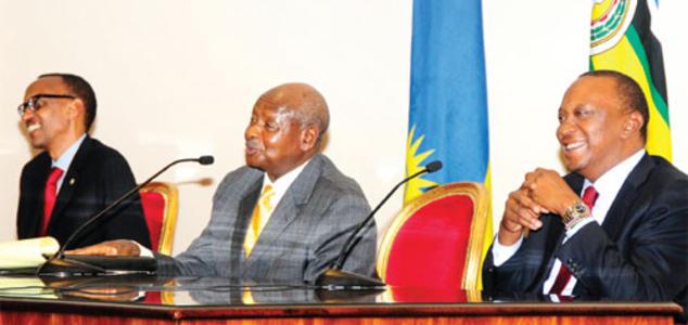 SIGNED: The three EAC leaders who signed the Common Visa initiative. (L-R) Paul Kagame of rwanda, Yoweri Museveni of Uganda and Uhuru Kenyatta of Kenya. Photo/wordpress.com