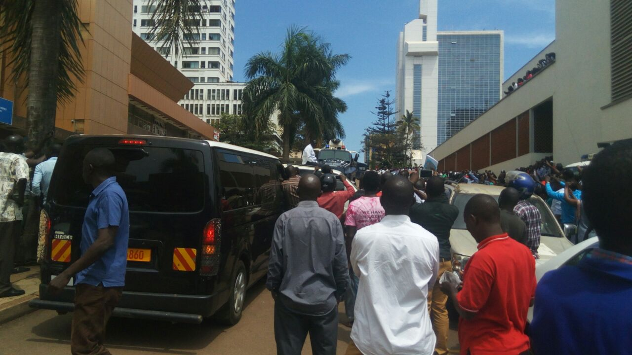 'BESIGYE VAN': The black police van that usually follows Besigye