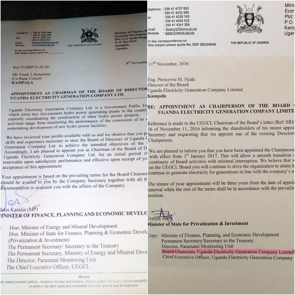The two letters from the two ministers appointing two different persons as board chairperson of UEGCL.